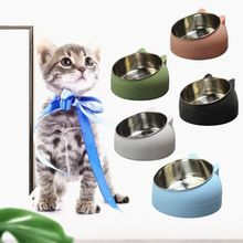 Dog-Bowl Pet-Shop-Accessories Stainless-Steel 15-Degree Protection Mouth Cat Cute And