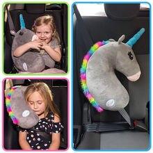 Del Capretto del bambino Bambini Testa di Sostegno del Collo Proteggere Unicorno Cuscino Da Viaggio Auto Cuscino Cintura di Sicurezza Spalla Cinghia di Sicurezza Carino Animale Cuscino