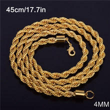4MM Long Gold-Color Men's Necklace Twist Chain Long Necklaces Gifts For Man Twist Rope Chain Jewelry Accesory High Quality(China)