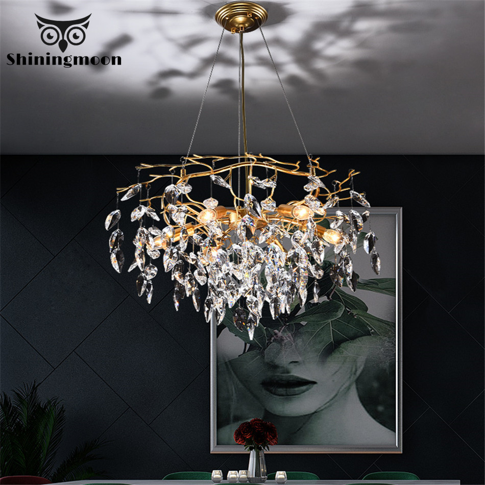 French Luxury Bedroom Crystal Chandeliers Modern Gold Chandelier Lighting Living Room Hotel Lobby Decor Hanging Light Fixtures