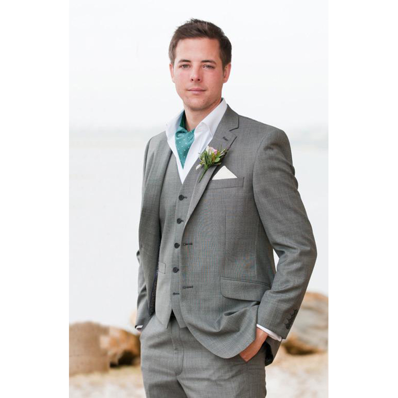 Simple Grey Wedding Suits Three Pieces Men Formal Slim Wedding Suit Groom Groomsmen Tuxedo Fashion Dress (Jacket+Pants+Vest)
