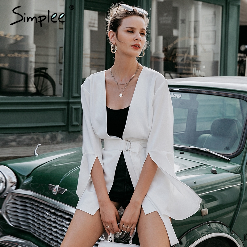 Simplee Sexy V Neck Plus Size Women Blazer Coat Autumn Winter Belted Bell Sleeve White Coat Elegant Ladies Party Outerwear 2019
