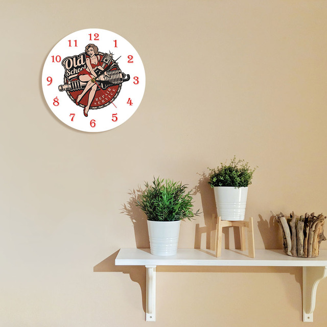 Garage Retro Spark Plug Wall Clock 8