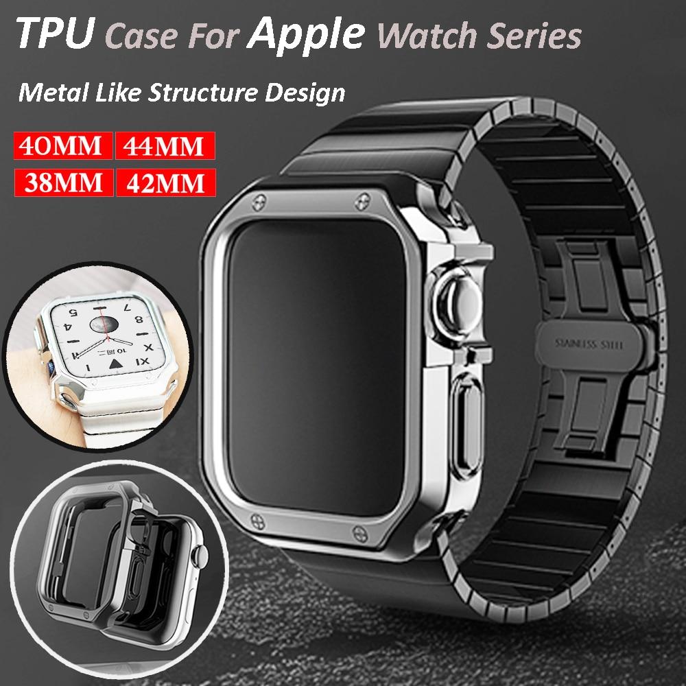 Чехол для часов Apple Watch Series 6 SE 5 4 3 2 44 мм 40 мм, защитный чехол из ТПУ с покрытием для Iwatch 42 мм 38 мм, аксессуары