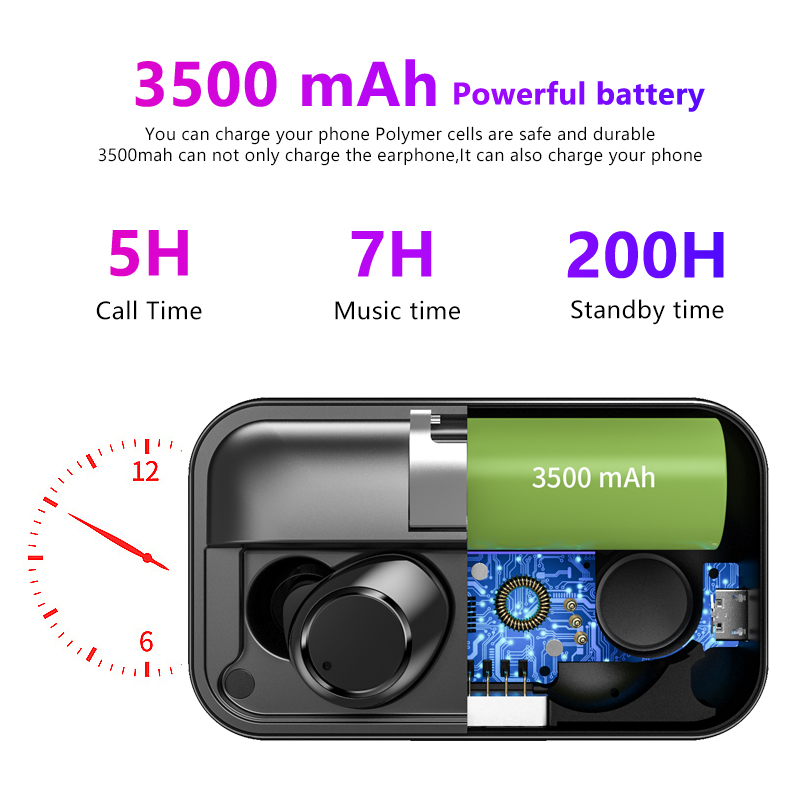 Image 5 - TWS X13 Binaural Bluetooth 5.0 Earphone Touch Control True Wireless Earbuds IPX7 Waterproof Noise Cancelling Headphones 7h Play-in Bluetooth Earphones & Headphones from Consumer Electronics