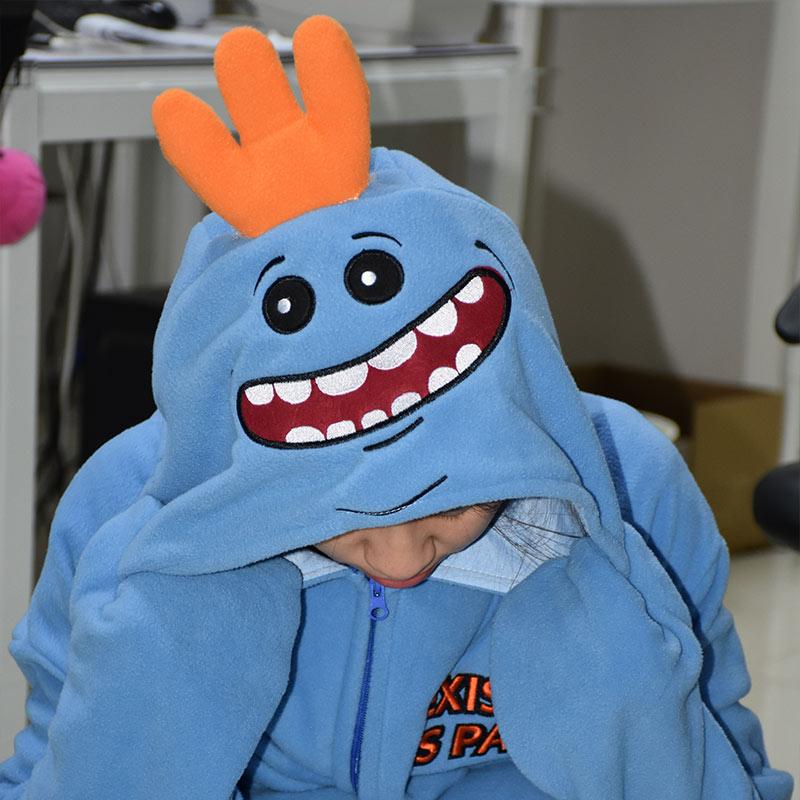 Mr Meeseeks Onesie Funny Kigurumi Unisex Cartoon Pajamas Polar Fleece Rick Morry Meeseeks Jumpsuit Zipper Sleepwear Women Adult