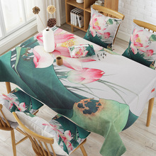 White Pink Lotus Cotton Linen Tablecloth Waterproof Rectangular Table Cover Living Room Kitchen Party Table Cloth
