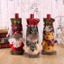 Санта-Клаус, снеговик, олень, Рождественская бутылка вина, чехол, подарочные сумки, Рождественский ужин, Декор, украшение дома, украшение стола для вечеринки 62748