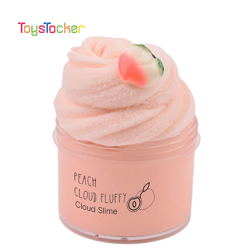 Hot Sale Cartoon Juicy Peach Cotton Candy Modeling Clay Fashion Fluffy Foam Slime Scented Stress Relief No Borax Slime Toys