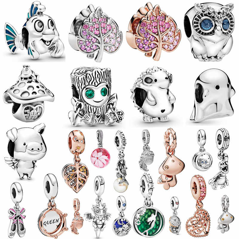 Couqcy 2019 Autumn NEW Moments Flower Pendant Fit pandora Bracelet Necklace Little Mermaid Flounder Charm DIY Jewelry Gifts love