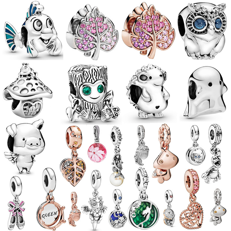 Couqcy 2020 Autumn NEW Moments Flower Pendant Fit pandora Bracelet Necklace Little Mermaid Flounder Charm DIY Jewelry Gifts love(China)