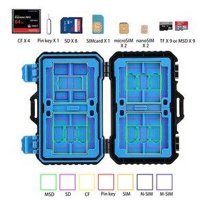 Image 2 - 27 Trong 1 Thẻ Nhớ Ốp Lưng Giá Đỡ Chống Nước Hộp Lưu Trữ Bảo Vệ Cho 4CF + 8SD + 9TF + 1 Thẻ viên Pin + 1SIM + 2Micro SIM + 2Nano SIM