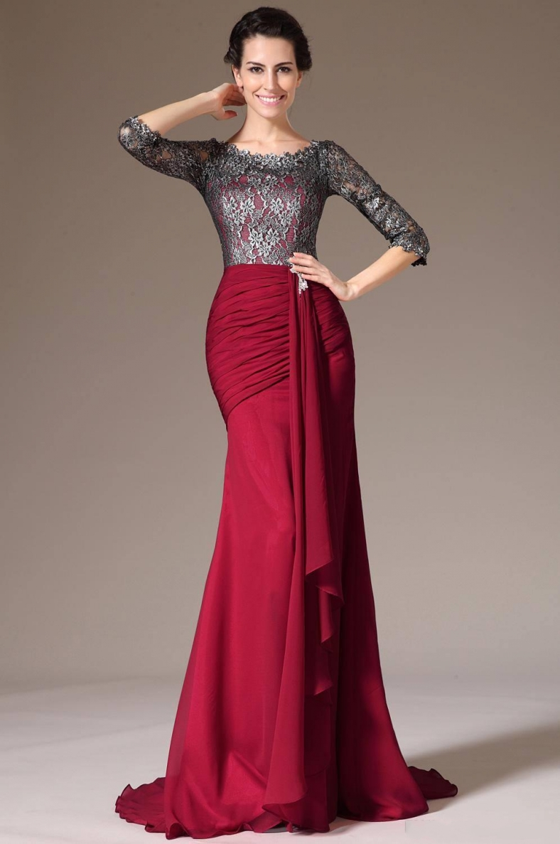 2020 Fashion Elegant Red Chiffon Lace Long Mother Of The Bride Dresses Jewel 3/4 Long Sleeve Evening Party Gowns Robe De Soriee