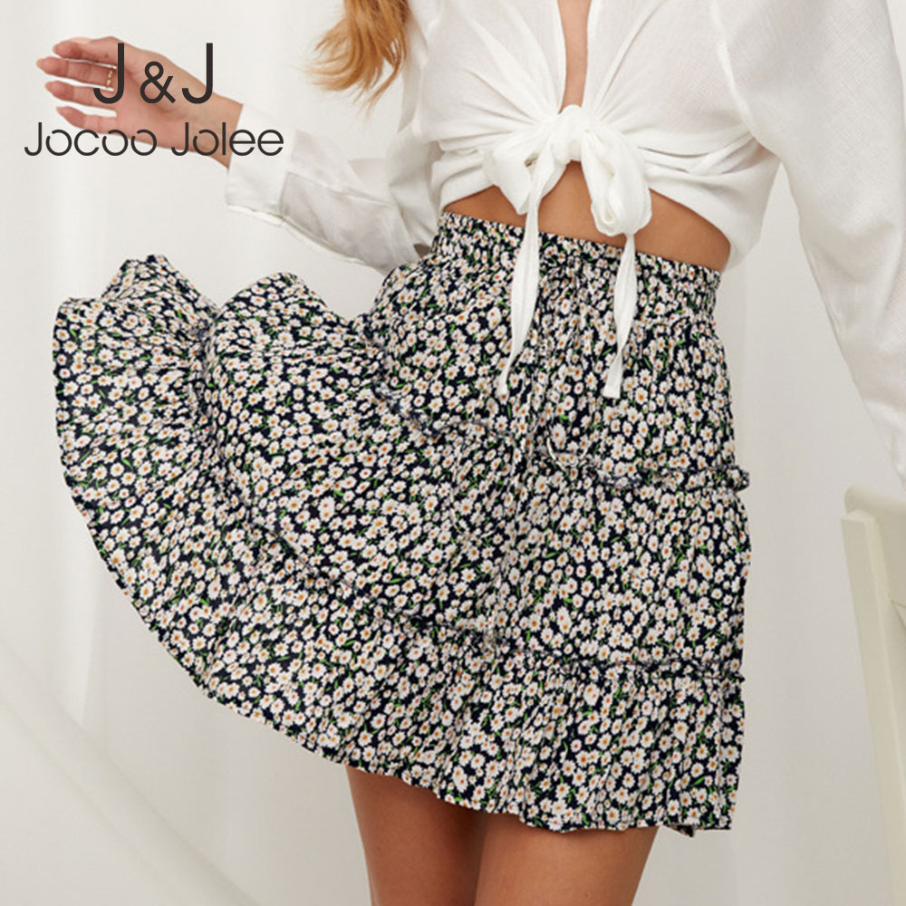 Jocoo Jolee Women Summer Floral Print Pleated Mini Skirt Elegant High Waist Short Beach Holidays Casual Skirt Boho Cotton 2XL