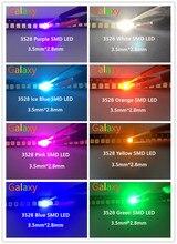 Набор светодиодных диодов SMD 3528, 100 шт./лот, набор светодиодных диодов SMD, зеленый, красный, теплый белый, ледяной синий, желтый, розовый, фиолет...