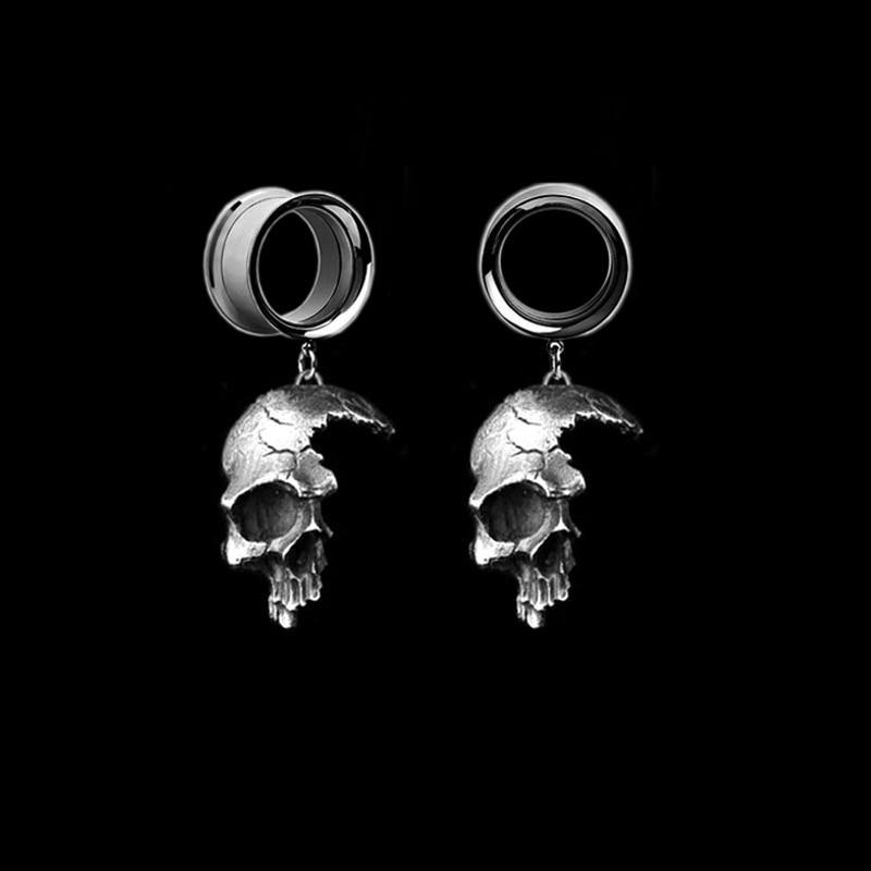 2 шт ухо пирсинг уха Вилки туннели Ear РАСШИРЕНИЯ расширитель ушей тела ювелирные изделия половину серьги-скелеты ореха Expansiones в стиле «панк»