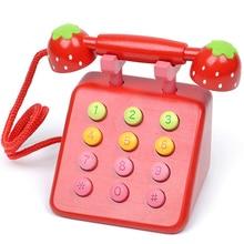 Детский игровой домик деревянный Притворись играть игрушки моделирование красный/розовый телефон мебель для ребенка развивающие игрушки подарок