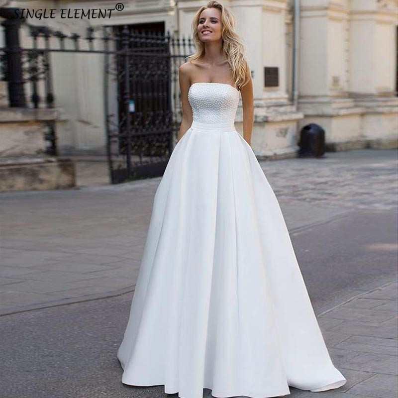 Beaded Satin Wedding Dresses Strapless Sleeveless Princess Bride Dress Vestido De Novia Lace Up Sweep Train