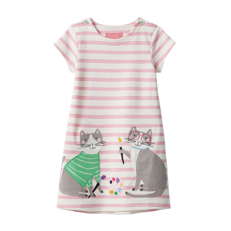Baby Girls Clothes Striped Jersey Dress Animal Appliques Kids Clothes Cats