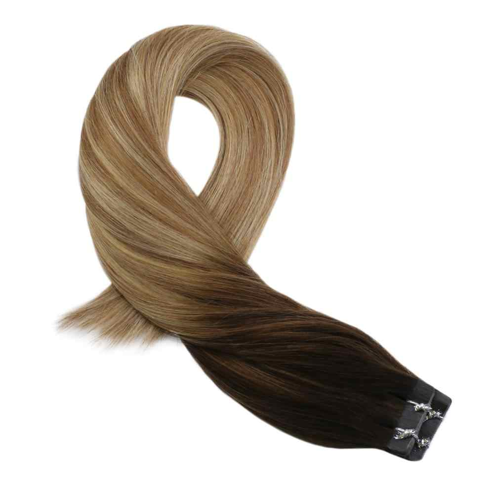 Moresoo Tape in Hair Extensions Human Machine Remy Brazilian Hair Skin Weft Balayage Ombre Color #4 Fading to Brown and Blonde