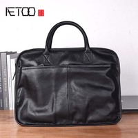 AETOO The first layer of leather men's bag men's leather soft leather briefcase simple handbag A4 file bag messenger shoulder ba