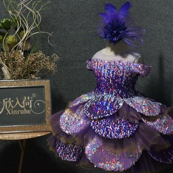 Unikalne fioletowym kwiatem sukienki dla dziewczynek suknie balowe luksusowe Off ramię dziewczyny urodzinowe paradne suknie wieczorowe suknie balowe Bling błyszczące tanie i dobre opinie SexeMara O-neck Długość podłogi Krótki Suknia balowa 2019090902 Tulle REGULAR Aplikacje Łuk Koronki Flower girl dresses