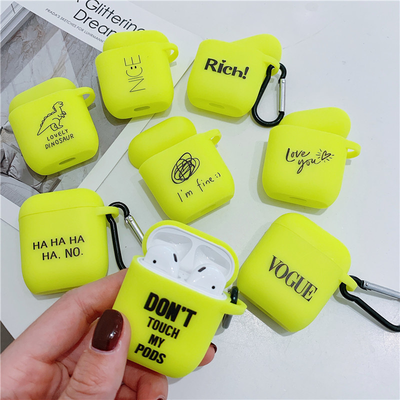 Fluorescent Color Letters Case For Apple Airpods 2/1 Case Cute Bluetooth Earphone Soft Cover For Airpod Headphone Case Box Bag