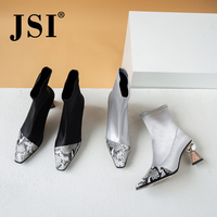 JSI Slip On High Heel Woman Boots Round Toe Serpentine Printing Mid Calf Square Heel Boots Genuine Leather Lady Shoes JO293