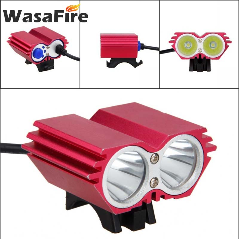 WasaFire 2x XM-L T6 Bike Front <font><b>Light</b></font> <font><b>7000</b></font> <font><b>Lumen</b></font> LED <font><b>Bicycle</b></font> <font><b>Light</b></font> 4 Modes Waterproof MTB Headlight Cycling Headlight Flashlight image