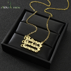 Nextvance Personalized Three Name Heart Customized Necklace Stainless Steel Creative Pendant Nameplate Chain Women Birthday Gift