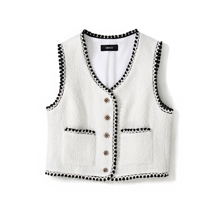 New limited supply Amoi minus age top small white fragrant wind restoring ancient ways delicate outer wear vests female