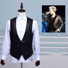 Мужской костюм жилет белый черный с пуговицами винтажный для