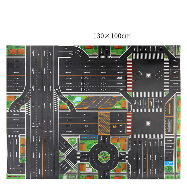 H738f0070e7924dfba40d81da217ae49bE 130*100CM Large City Traffic Car Park Play Mat Waterproof Non-woven Kids Car Playmat Toys for Children's Mat Boy Car