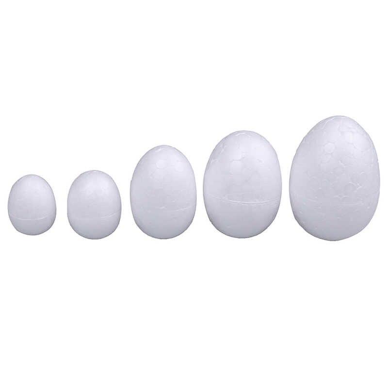 10 unids/set 3-7cm DIY artesanía blanca modelado poliestireno espuma de poliestireno Bola de huevo para la decoración DIY del día de Navidad o el día de Pascua