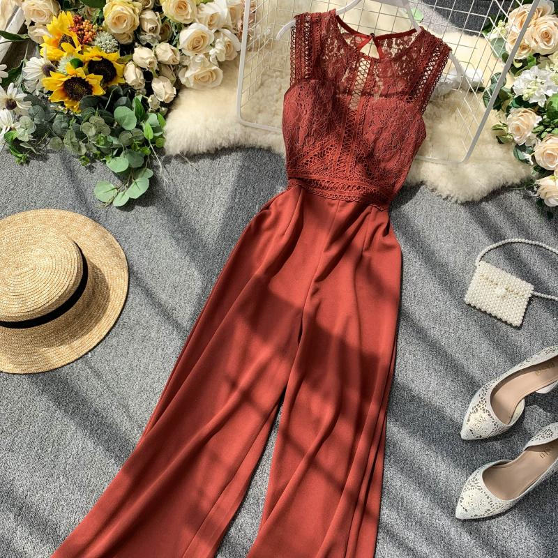 Elegant High Waist Hip Wide Leg Patchwork Lace Hollow Out Sleeveless Jumpsuit 30