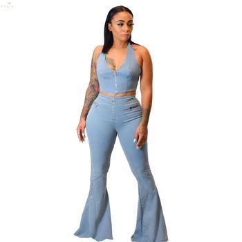 Bell Bottom Pants Sexy Denim Pants Women Retro Print Jeans Ripped Flare Pants Women Trousers Skinny Casual High Waist Pants