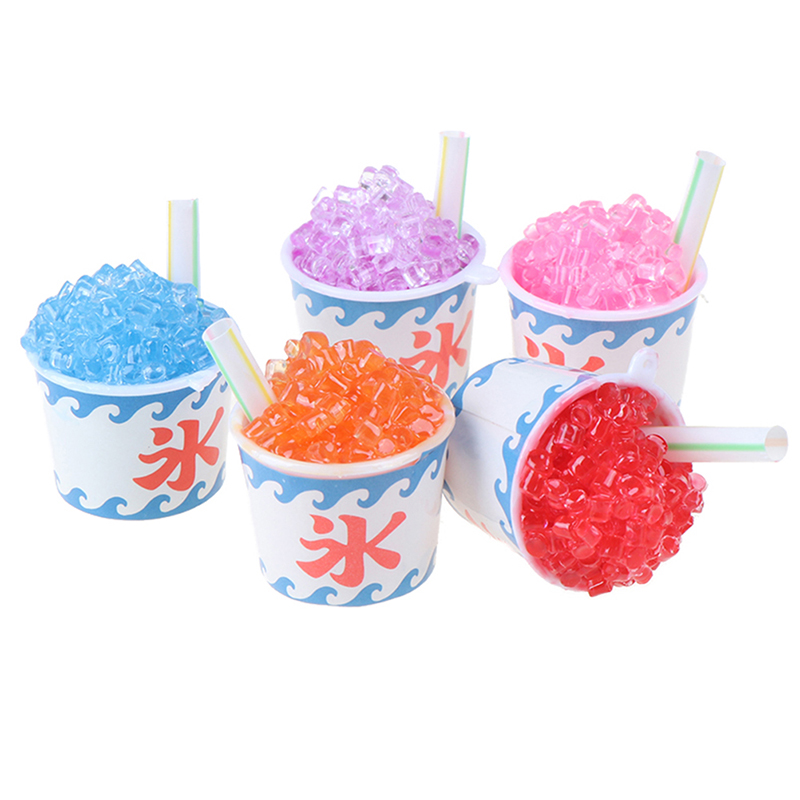 Random 1pc Cute Dollhouse Miniature Drink Ice Cream Cups Set Model Pretend Play Mini Food Fit Play House Toy Doll Accessories