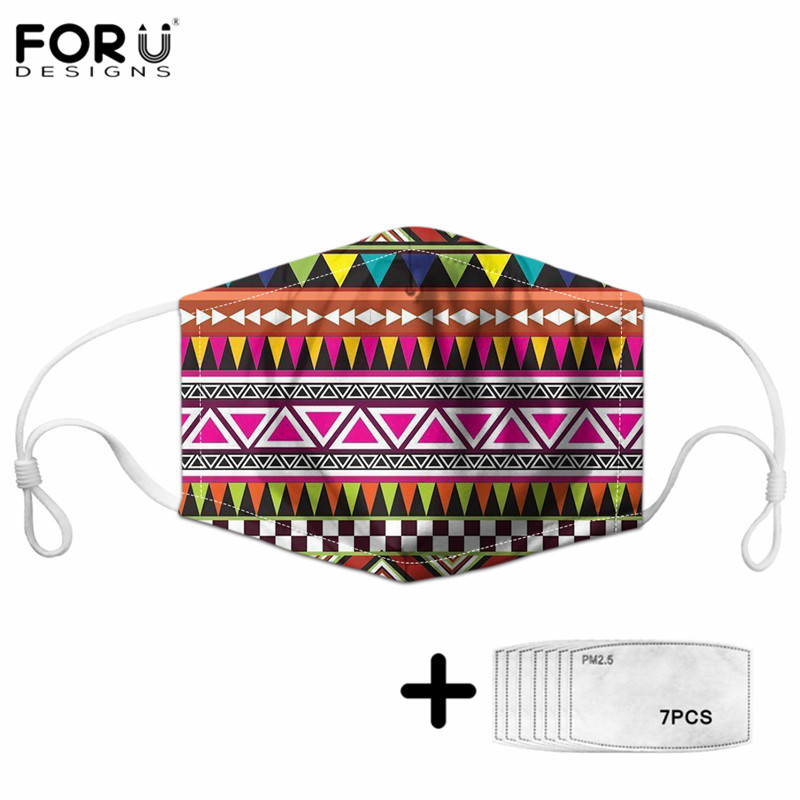 FORUDESINGS Female Maske Africian Aztec Tribal Pattern Girls Adjustable High Elastic Mouth Cover Unisex Non-disposable Mascaras