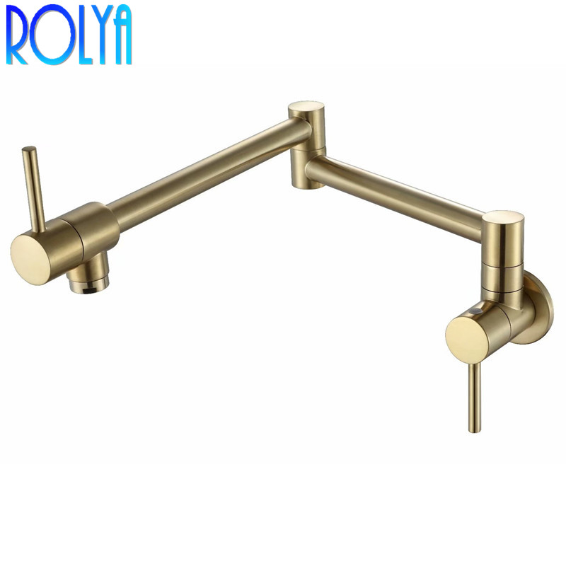 Rolya Solid Brass Single Cold Pot Filler Tap Wall Mounted Kitchen Faucet Brushed Golden