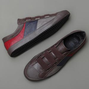 Image 3 - 2020 men leather casual shoes man spring autumn hot fashion slip on cool loafers leisure patckwork flat shoes