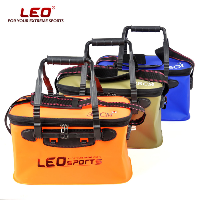 LEO Portable Folding Fish Wear Bucket Outdoor EVA Fishing Tackle Boxes with Handle Fishing Bags Outdoor Fishing Water Tank title=