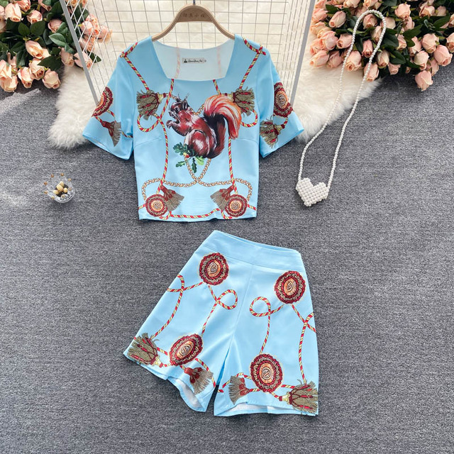 Women's Fashion Runway Two Piece Sets for Summer Elegant Lady Square Collar Print Top Suits with Shorts Casual Outfit Streetwear 5