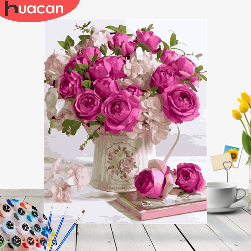 HUACAN Coloring By Numbers Flowers HandPainted Drawing Canvas Kits DIY Pictures Painting Gift Home Decoration