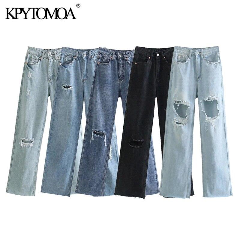 KPYTOMOA Frauen 2021 Chic Gerippte Mode Loch Quaste Denim Breite Bein Jeans Vintage Hohe Taille Zipper Fliegen Weibliche Hose Mujer