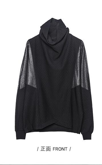 A new line of dark dark personality color contrast patchwork dark hair stylist loose bat sleeve high collar hoodie coat male