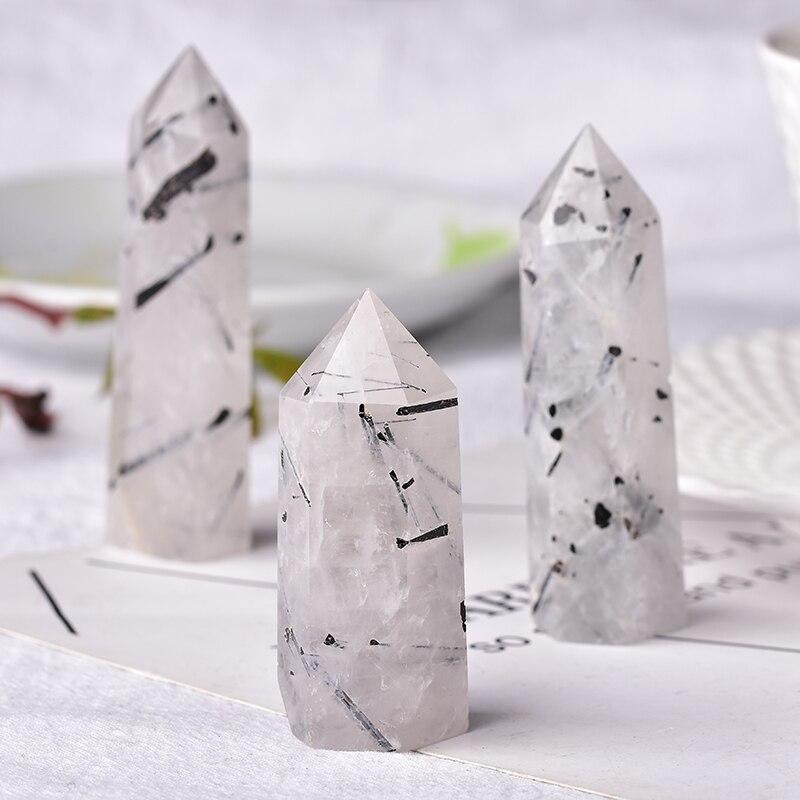 Натуральный кристалл, черный турмалин, кварцевый исцеляющий камень, шестигранная Призма 50-80 мм, обелisk палочка, лечебный камень, сделай сам, ...