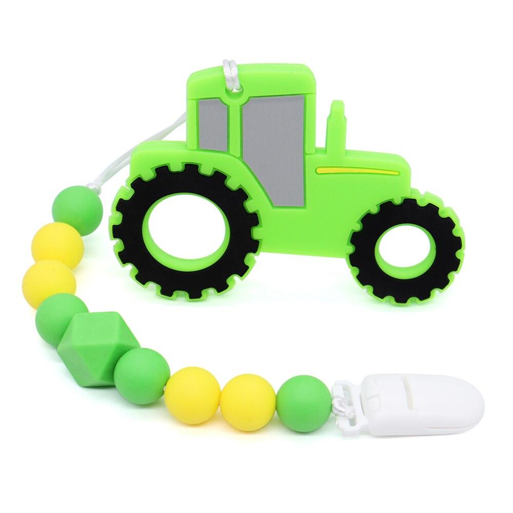Зеленая Тракторная цепочка для прорезывателя с клипсами для соски для детей жевательные игрушки для BPA бесплатно пищевого силикона Прорезы...