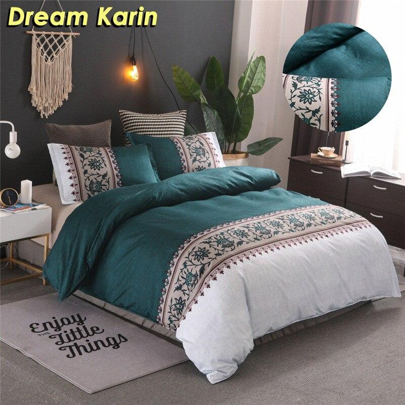 Simple Duvet Cover Set Floral Printing Bedding Set Cotton Bed Linens Comforter Quilt Covers Sets Soft Queen King Size BedClothes