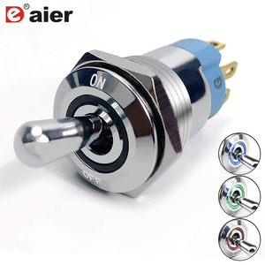 SPST ON Off LED Toggle Switch 12V RGB Lighted IP67 Waterproof 16mm Large Round Rocker Push Button Style Silver Chrome Car Marine