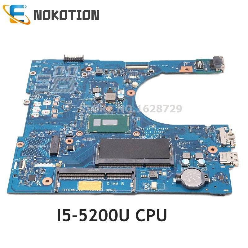 NOKOTION материнская плата для ноутбука Dell inspiron 5458 5558 5758 Материнская плата ноутбука SR23Y I5 5200U Процессор CN 0FRV68 0FRV68 AAL10 LA B843P
